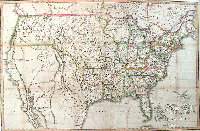 maps of the united states   The Old Print Gallery Blog United States of America  corrected   improved from the best authorities   Benjamin Warner  Published by B  Warner  Philadelphia  Engraving  1820