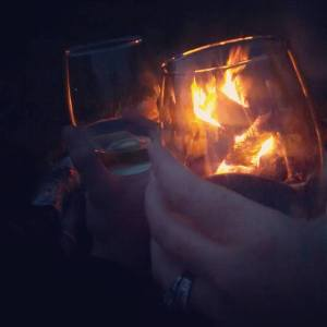 Enjoying our wine by the fire after a long night! Party planning is fun and exhausting all at the same time!
