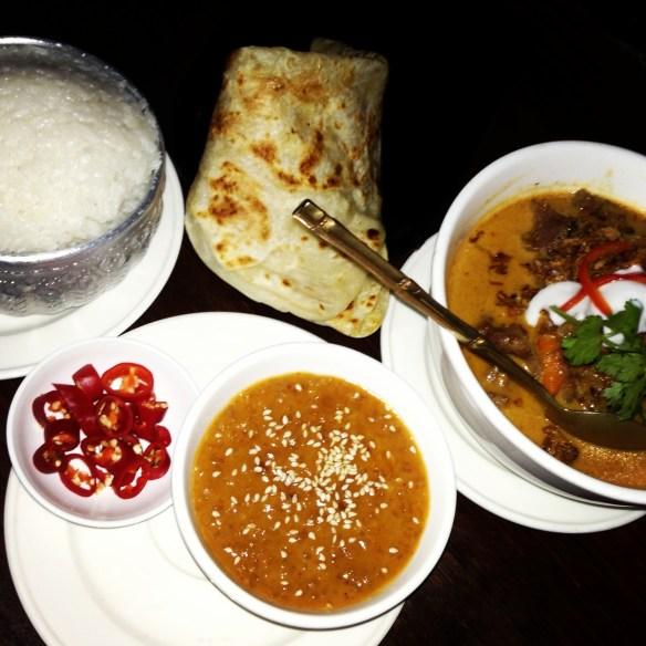 Patee Thai - Massaman curry, coconut rice & roti w satay sauce.
