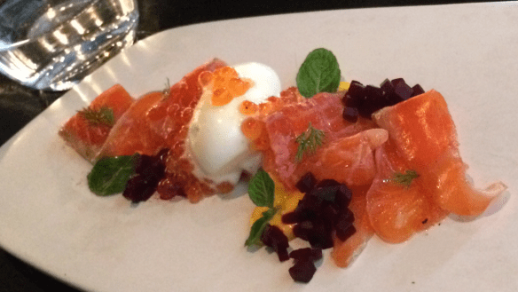 Coda - Aperol cured Huon ocean trout, pickled beetroot, crème fraîche sorbet and carrot mousse