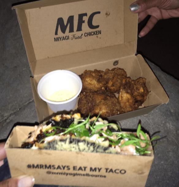Night Noodle Market 2014 (Melbourne) - Mr Miyagi - Nori Salmon Taco & Miyagi Fried Chicken