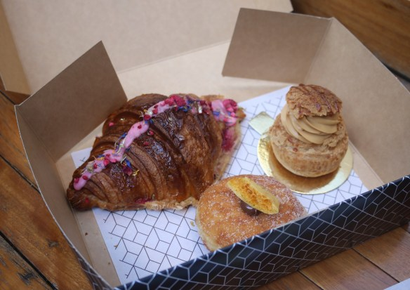 Rustica Canteen - Salted caramel choux bomb, Ispahan croissant & choc honeycomb brioche donut