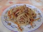 Putenstreifen-auf-Spaghetti