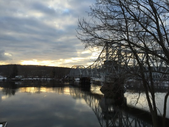The famous East Haddam Swing Bridge, the longest truss bridge in the world, over the Connecticut River.