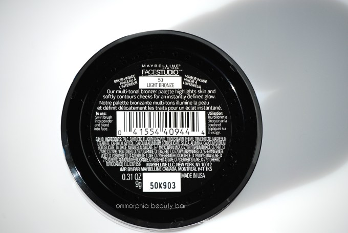 Maybelline Light Bronze Hi-Lighting Bronzer label