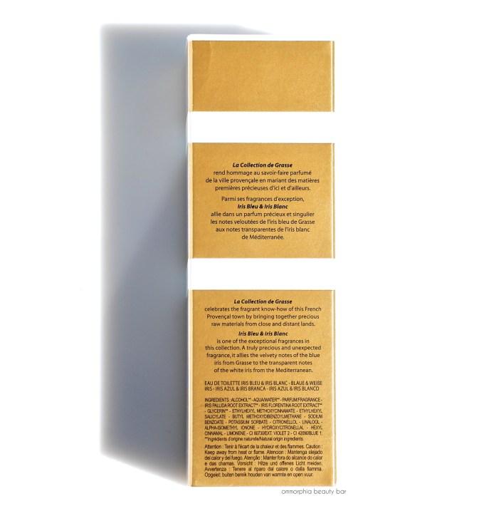 L'Occitane Iris Bleu & Iris Blanc EdT ingredients