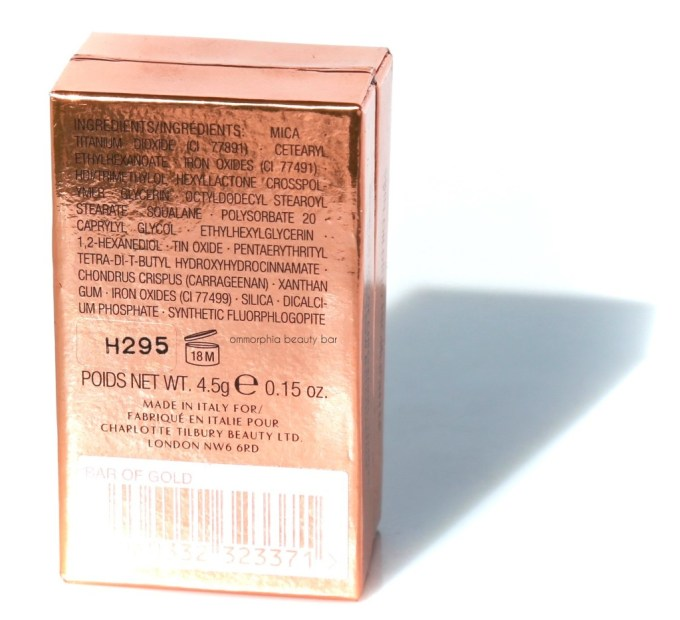 CT Bar of Gold ingredients