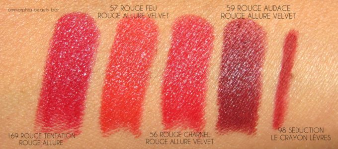 CHANEL Le Rouge lippie swatches 2