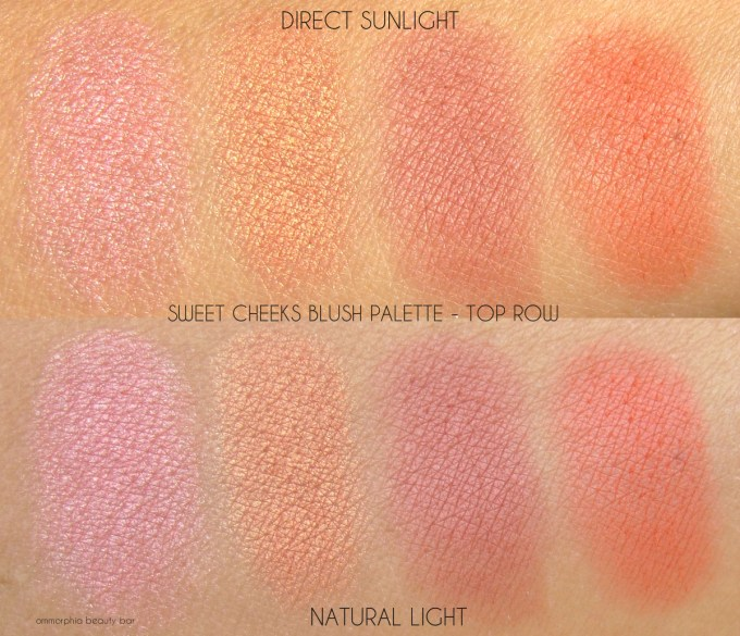 NYX Sweet Cheeks Blush Palette top row swatches