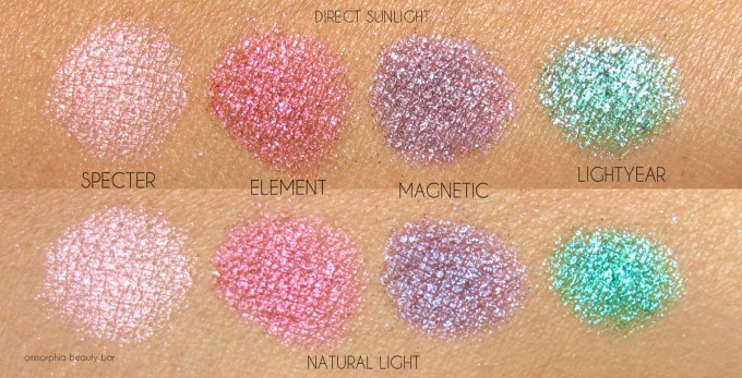UD Moondust Palette swatches top row