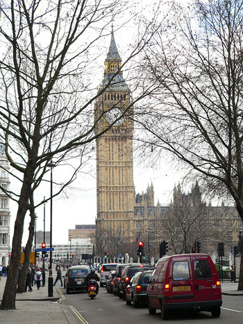 A street view of Big Ben in London, England