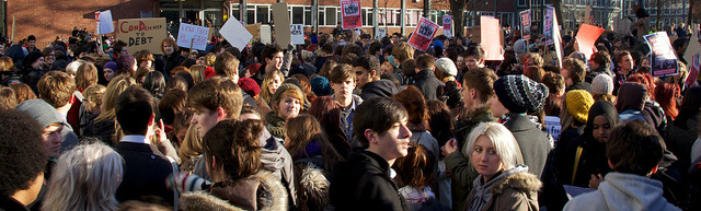Students gathered for a peaceful demonstration