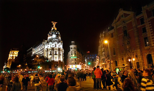 People gathered for the celebration of the White Night, La Noche en Blanco