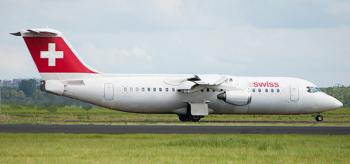 A Swissair BAE 146 passenger jetliner awaiting takeoff