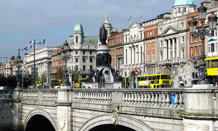O'Connell Street Bridge showing heavy traffic in the City Centre
