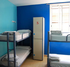 Lockers in a hostel dorm room in Barcelona, Spain