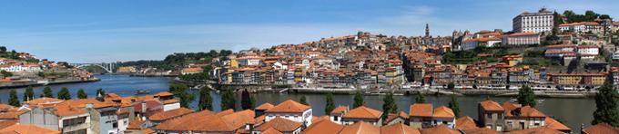 Panoramic View of the Portuguese city of Oporto from Vila Nova de Gaia