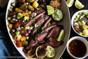 This recipe shares the secrets to creating the tenderest marinated flank steak that is bursting with flavor; included are salad and side dish ideas for an inexpensive dinner party.