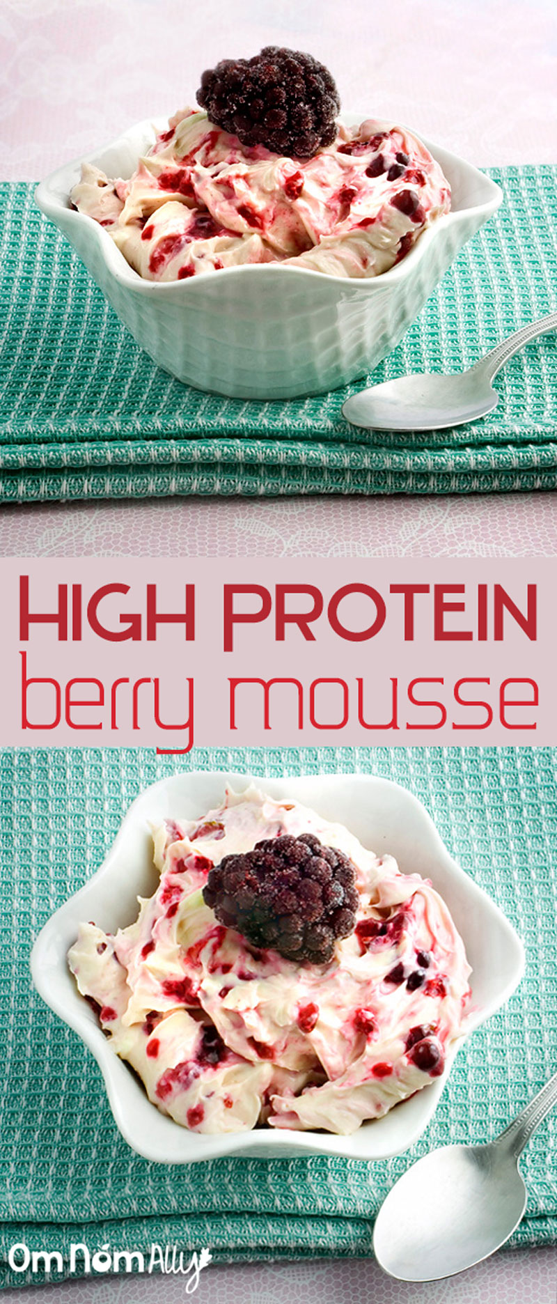 High Protein Berry Mousse @OmNomAlly made with protein-rich cottage cheese and your favourite fresh or frozen berries!