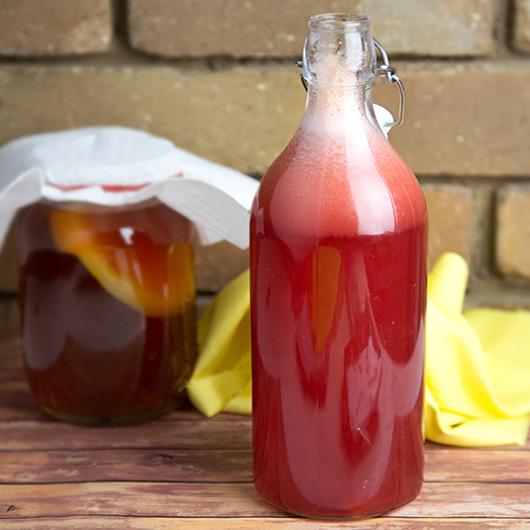 Raspberry Fermented Kombucha Soda - Om Nom Ally