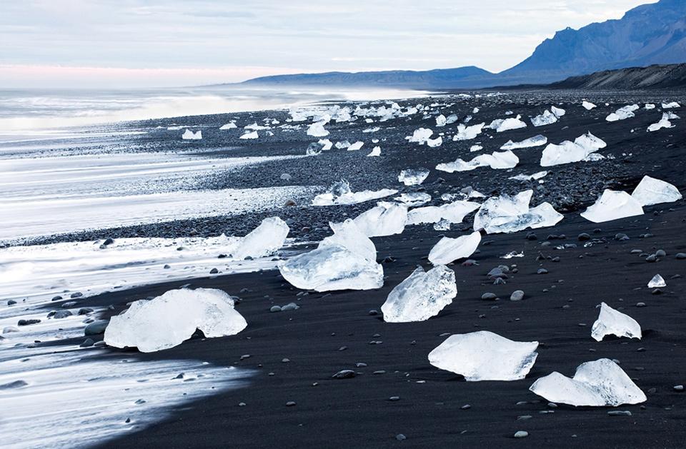 a black sand beach, iceland