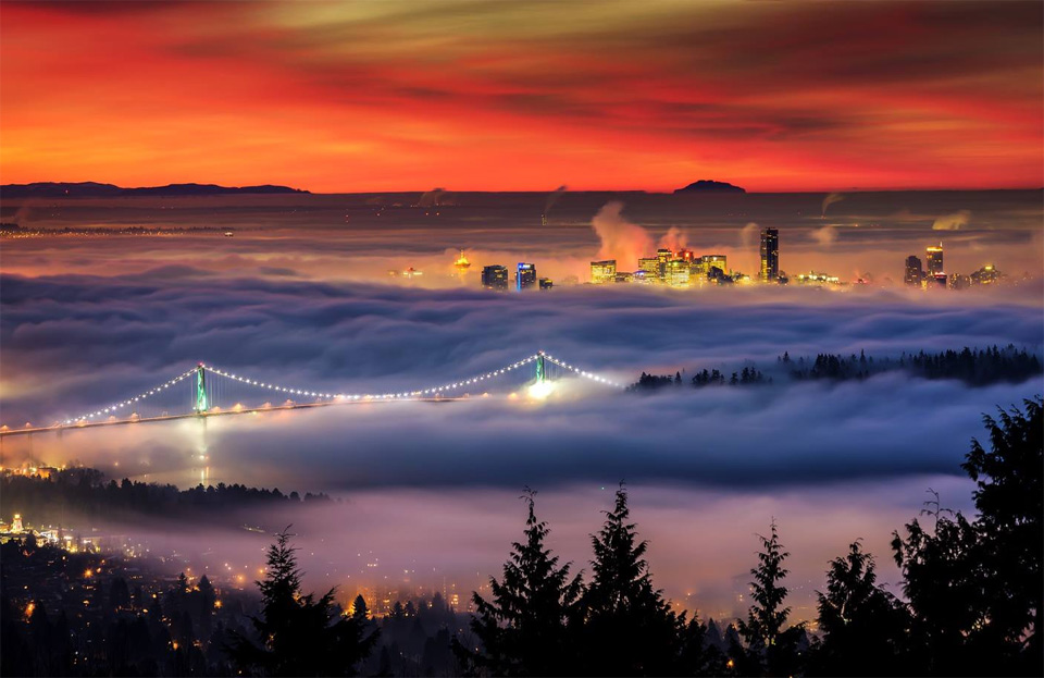 downtown vancouver under blanket of fog