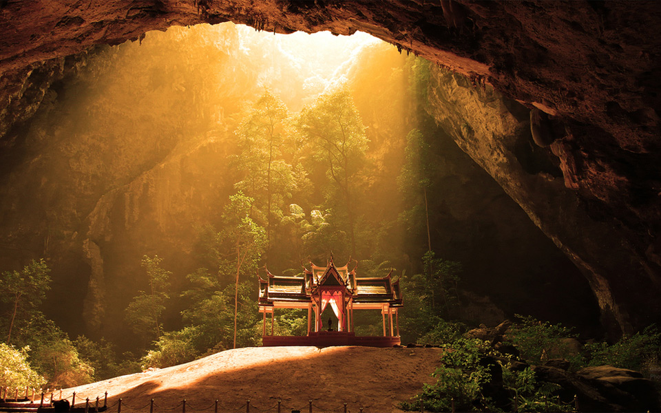 temple inside cave, thailand