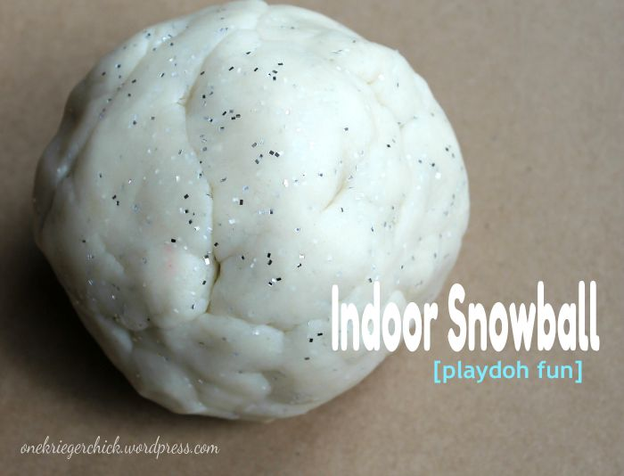 Snow playdough- A fun variation on my favorite recipe making it perfect for Winter indoor play! OneKriegerChick.com