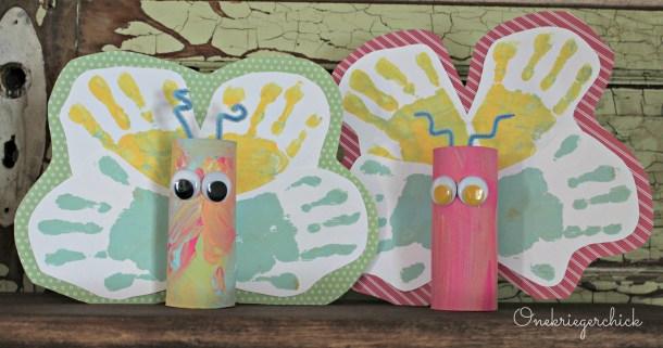 Spring handprint butterflies {Onekriegerchick.com}
