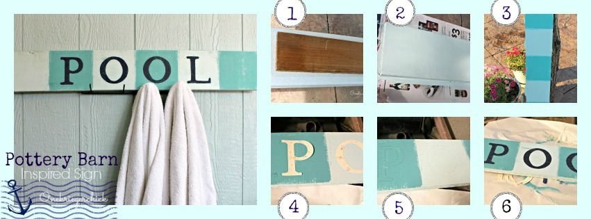 DIY Pottery Barn Inspired POOL Sign {Onekriegerchick.com}