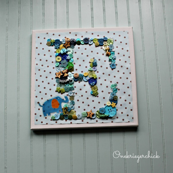E is for Elephant button monogram {Onekriegerchick.com}