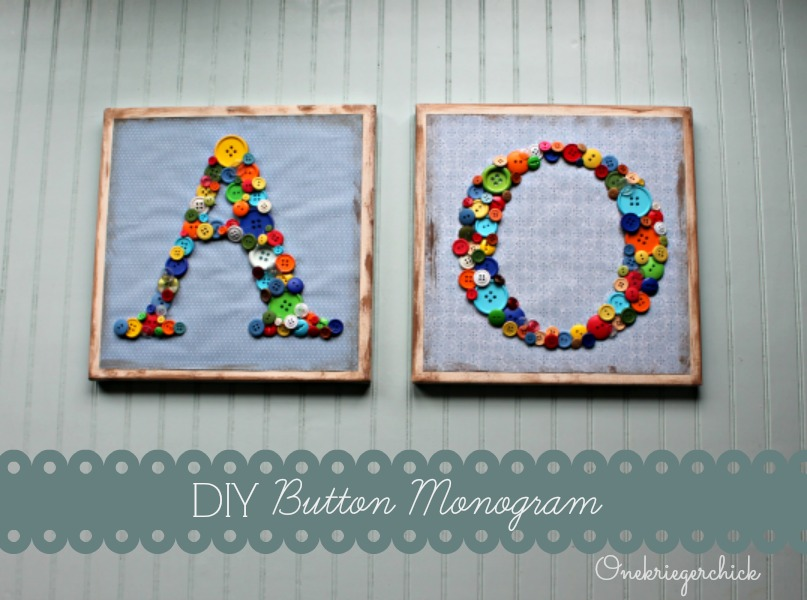 Simple DIY button monograms {Onekriegerchick.com}