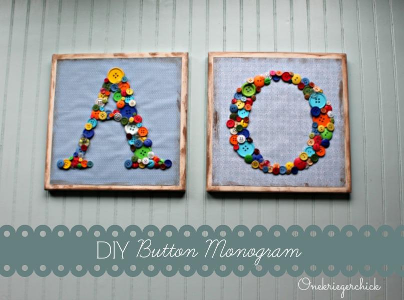 Simple DIY button monograms {Onekriegerchick.com}