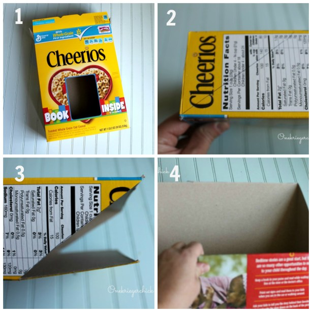Cereal box to drop box steps 1-4 {Onekriegerchick.com}