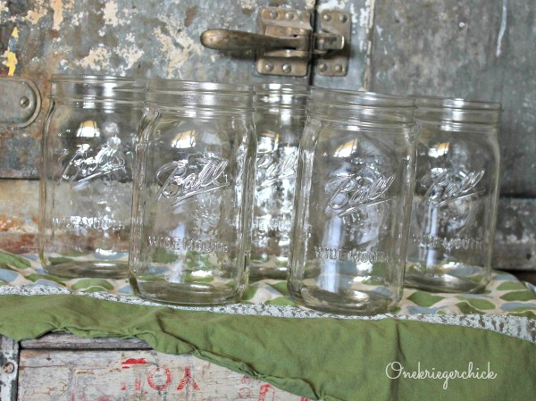 Mason jars before {Onekriegerchick.com}