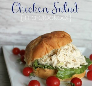 slider Chicken Salad in a crockpot {Onekriegerchick.com}