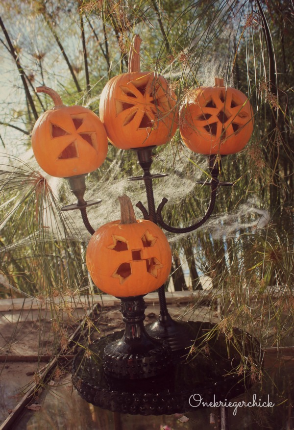 Pumpkin Quilt Block Candelabra...Fall party idea!