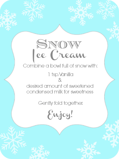 SNOW Ice Cream Recipe {printable tag}