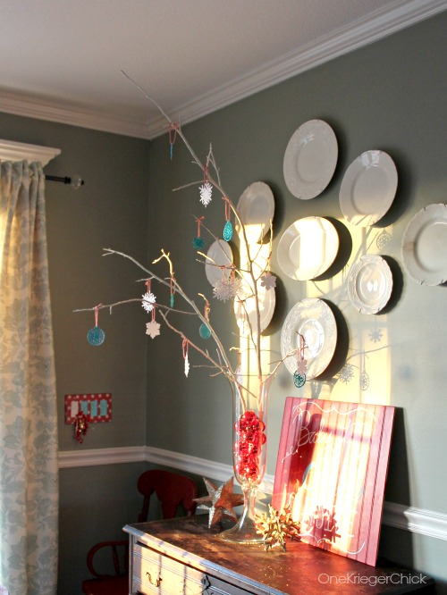 Glitter Snowflake Tree and Dining room decor