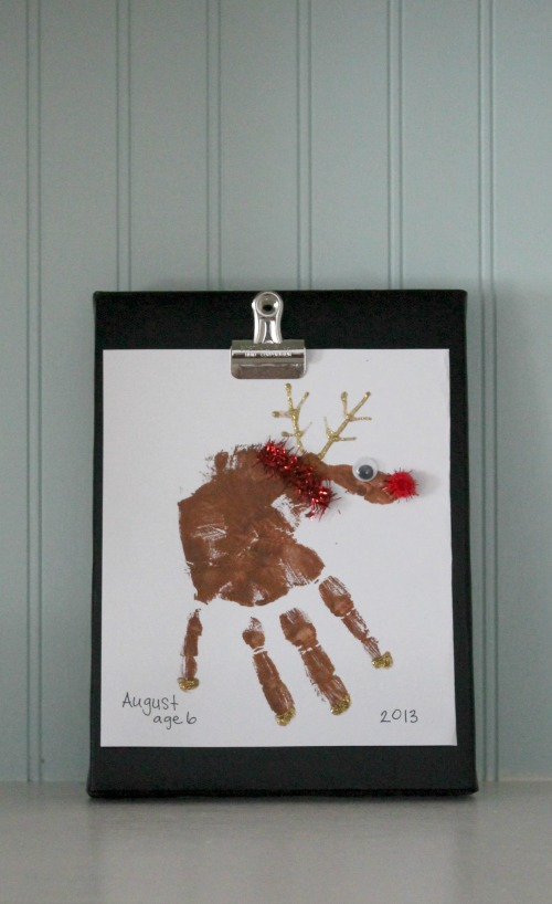 Reindeer Handprint Art on Canvas