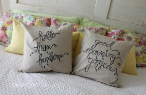 Sentiment pillows made with a Sharpie!