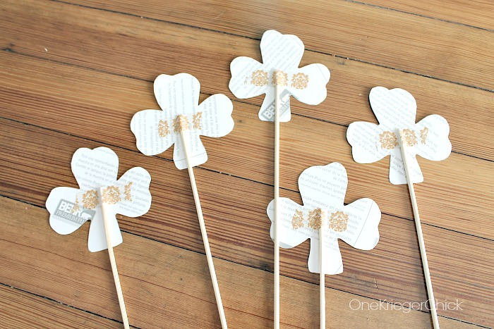 Attaching shamrock to skewer