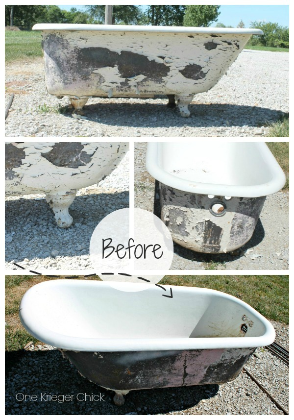 Cast Iron Bathtub turned Outdoor Sofa BEFORE