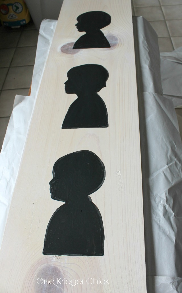 Silhouette Memory board- painted silhouettes