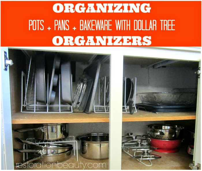 organizing pots pans and bakeware with dollar tree organizers