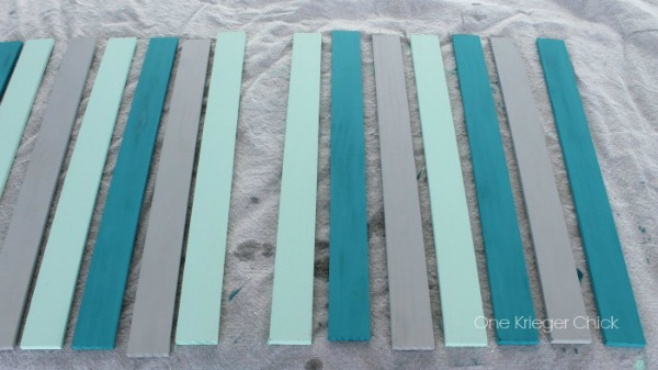 Chalk painted slats for frame
