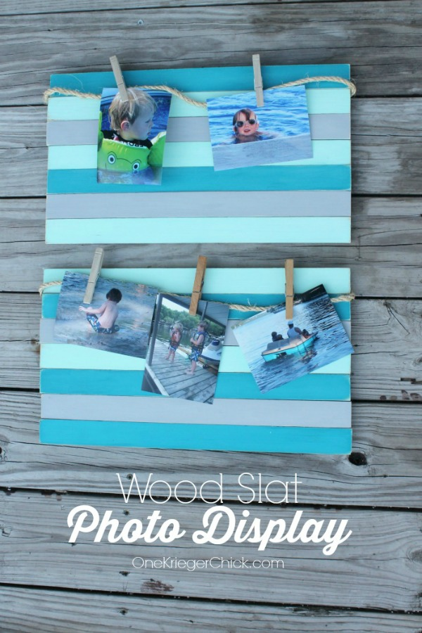 How-to-make-a-wood-slat-photo-display-from-paint-stir-sticks-perfect-to-display-Summer-memories-OneKriegerChick.com