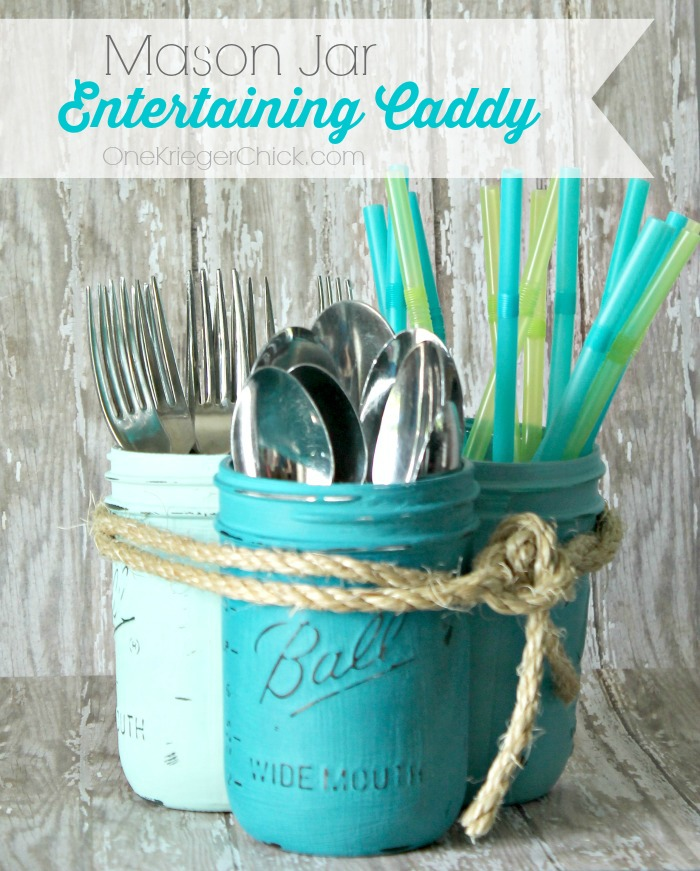 Ombre Painted Mason Jar Entertaining Caddy-OneKriegerChick.com