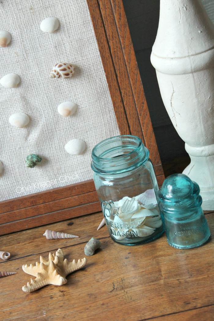 Shells and blue mason jars-relaxed Summer decor!