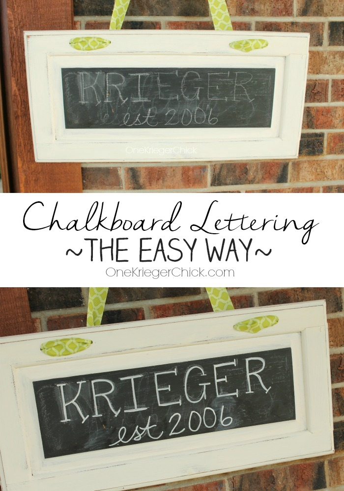Chalkboard lettering the easy way- 2 steps! OneKriegerChick.com